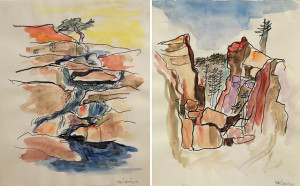 "Lawrence Halprin, Yosemite Studies, 1970, watercolor over photocopy on paper; courtesy of the Halprin Family Archive and Edward Cella Art + Architecture ""Studying the granite formations, rivers, lakes, and waterfalls [of Yosemite] and their evolution has formed the basis of my design philosophy."" —Lawrence Halprin"