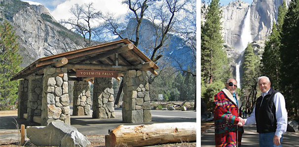 "(Left) Halprin's granite-and-log bus-stop shelter in Yosemite Falls; photo Greg Blazer. (Right) Halprin at left with Bob Hansen, then-president of the Yosemite Fund, c. 2005; courtesy of The Yosemite Fund. ""It was important that I achieve a contextual 'rightness' and design a combination that felt like the work of nature rather than man.""—Lawrence Halprin"