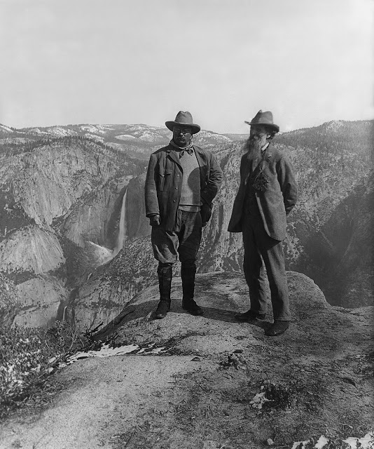 President Theodore Roosevelt (left) and preservationist John Muir, founder of the Sierra Club, on Glacier Point in Yosemite National Park, 1903; courtesy of Library of Congress Muir guided Roosevelt into the Yosemite wilderness and helped convince him to sign the 1906 legislation that joined together the 1864 state grant lands and the 1890 national park lands.