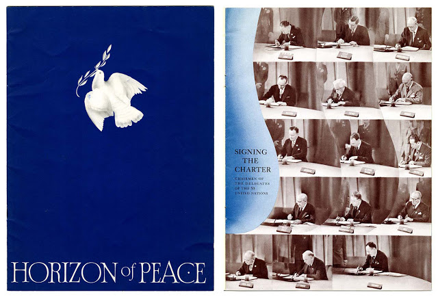 "Horizon of Peace cover and ""Signing the Charter,"" interior page (San Francisco: Bank of America, c. 1945). California Historical Society, OV PAM 7288_001."