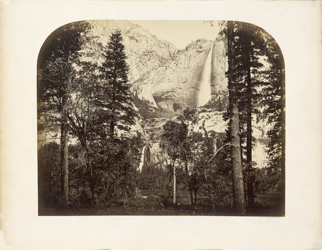 Carleton Watkins, Yosemite Falls (River View), c. 1861; California Historical Society Watkins' artistic vision captured Yosemite's sublimity and helped establish landscape photography as an art form. His Yosemite images also provided the visual evidence that led to preservation with passage of the 1864 Yosemite Grant Act.