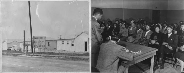 "(Left) This photograph of the sign ""This tract is exclusive and restrictive,"" published in the African American newspaper California Eagle on Sept. 28, 1950, advertises a whites-only development project in Southeast Los Angeles. (Right) Black community members meet to discuss a public housing project for Watts, 1950s. Courtesy Southern California Library for Social Studies and Research"