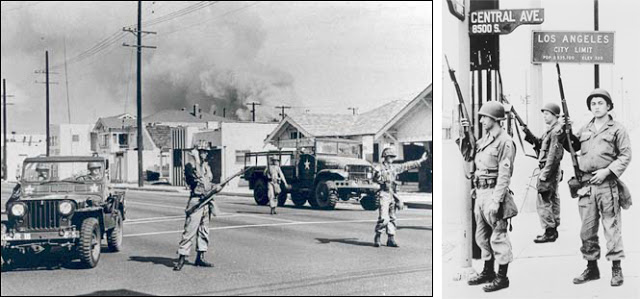 (Left) Soldiers of California's 40th Armored Division in Watts, 1965; courtesy National Guard Education Foundation; (right) Three National Guardsmen stand guard under a Los Angeles city limits sign in the southern end of the riot-torn section of the city, 1965; Library of Congress