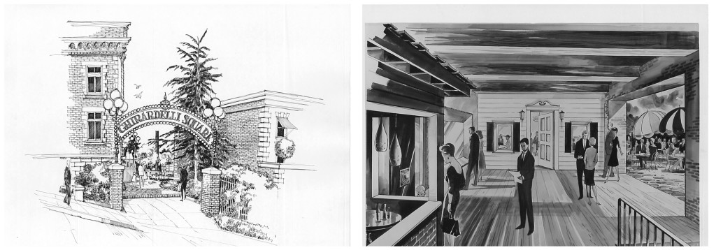 Schemes for Ghiradelli Square, 1962–64 (Left) Larkin Street entrance, Wurster, Bernardi & Emmons; (right) Interior shops, source unknown California Historical Society