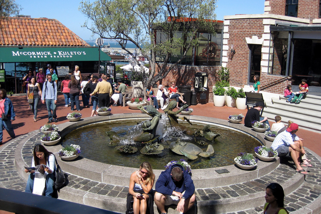 Fountain at Ghiradelli Square, 2009 Photograph by Wally Gobetz; Creative Commons