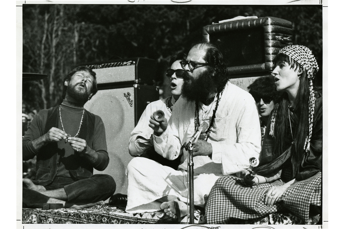 [l to r: Gary Snyder, Michael McClure, Allen Ginsberg, Freewheelin' Frank and Marcetta at the Human Be-In, Golden Gate Park, 1967 January 14], photograph by Gene Anthony, courtesy, California Historical Society, CPA-SOL_006