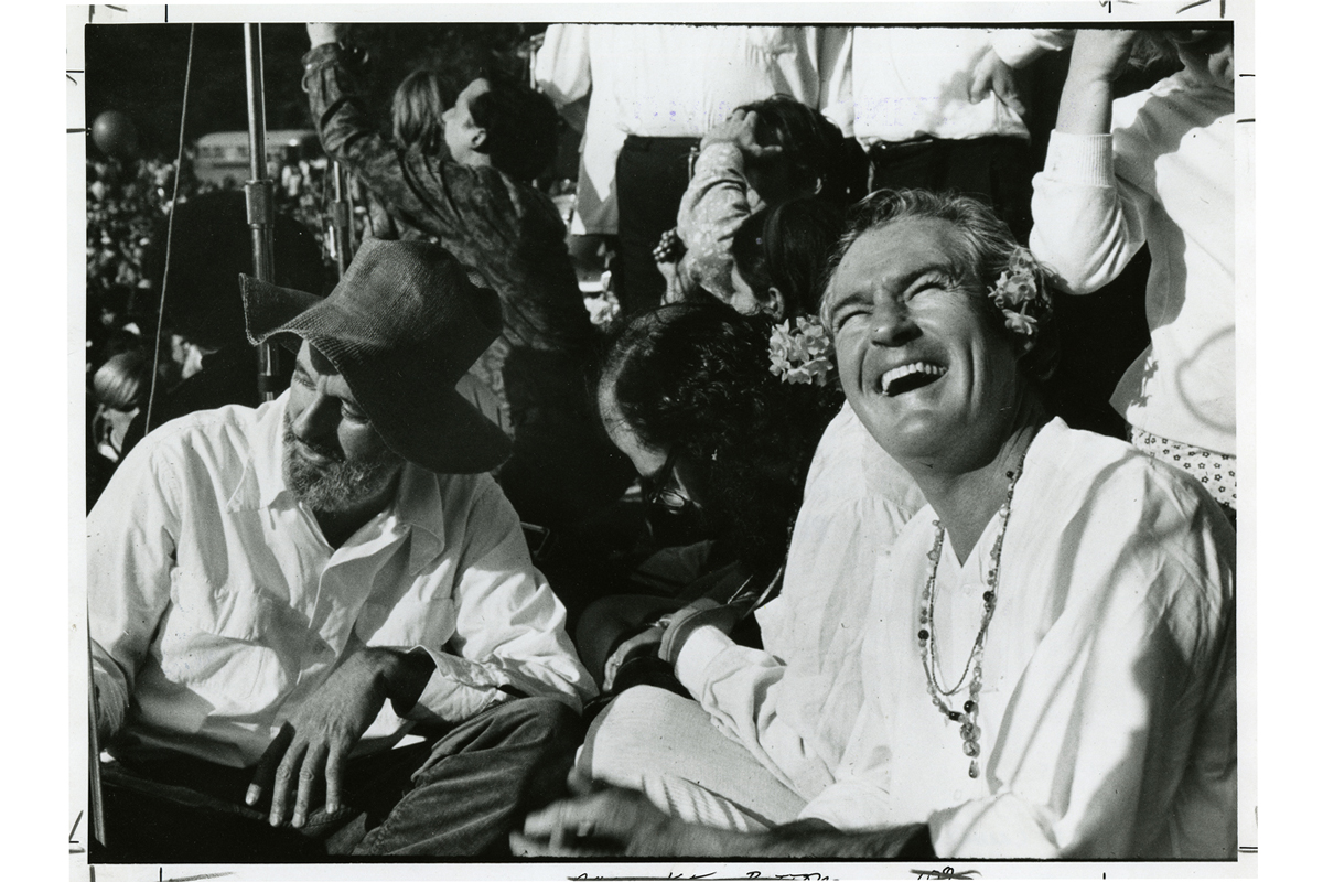 [l to r: Lawrence Ferlinghetti, Timothy Leary, at the Human Be-In, Golden Gate Park, 1967 January 14], photograph by Gene Anthony, courtesy, California Historical Society, CPA-SOL_007