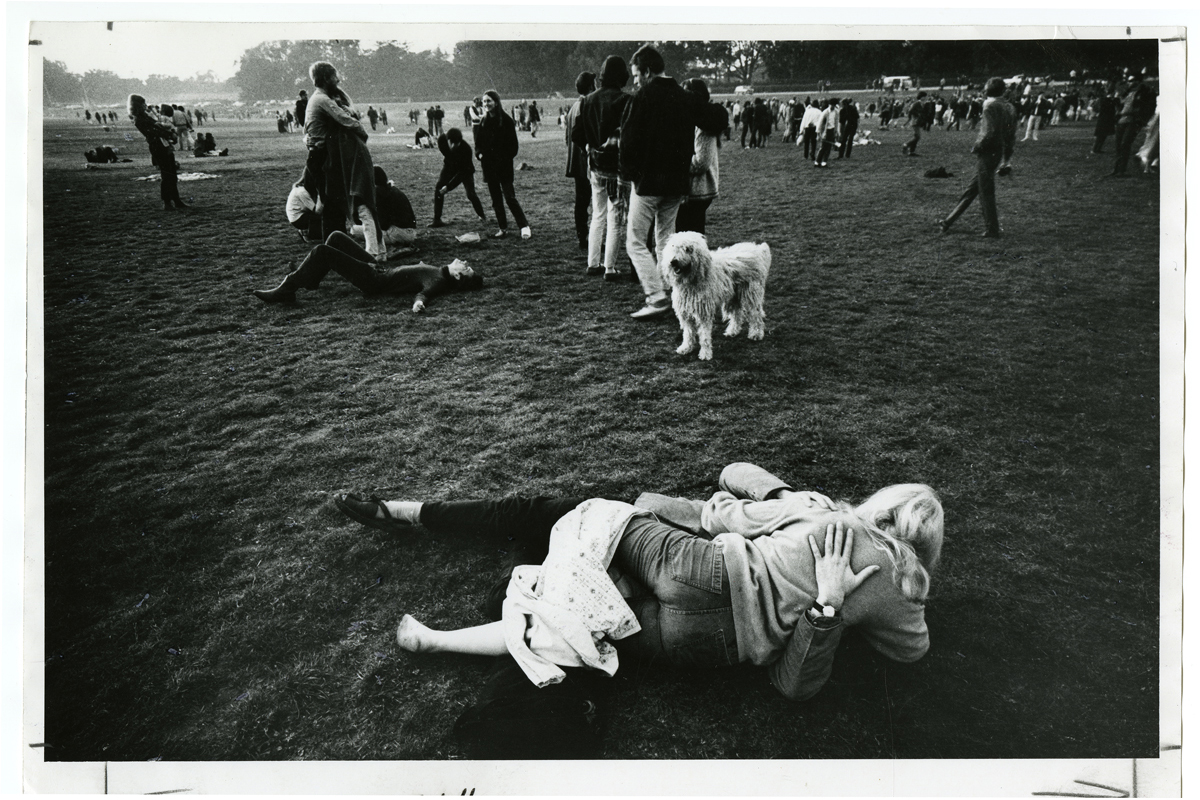 [Winding down at the Be-In, Golden Gate Park, 1967 January 14], photograph by Gene Anthony, courtesy, California Historical Society, CPA-SOL_010