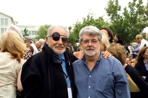 Lawrence Halprin and George Lucas at the Letterman Digital Arts Center Opening, June 25, 2005 Courtesy of Robert David
