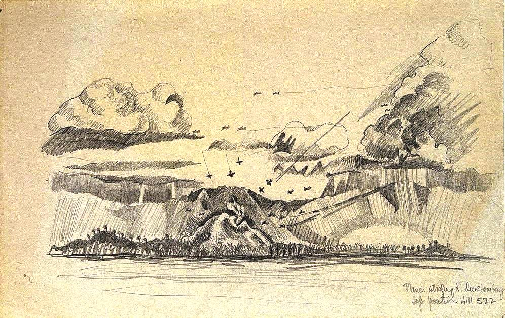 Lawrence Halprin, Planes Stafing and Divebombing, Jap Portion of Hill 522, Battle of Leyte, 1943 Courtesy of Edward Cella Art & Architecture, Los Angeles