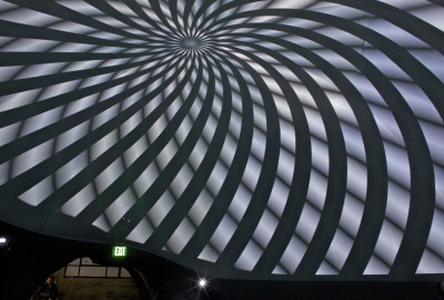 Video projection inside a geodesic dome created by Obscura Digital, Friday, January 22, 2016 (Adrian Mendoza for the California Historical Society).