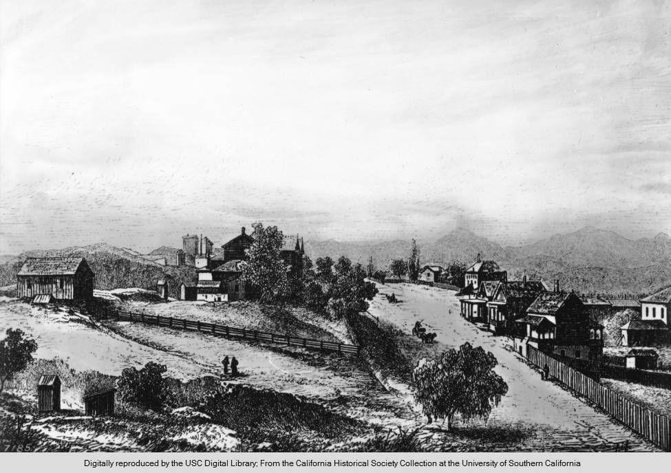 Drawing of Bunker Hill, c. 1870 California Historical Society Collections at University of Southern California